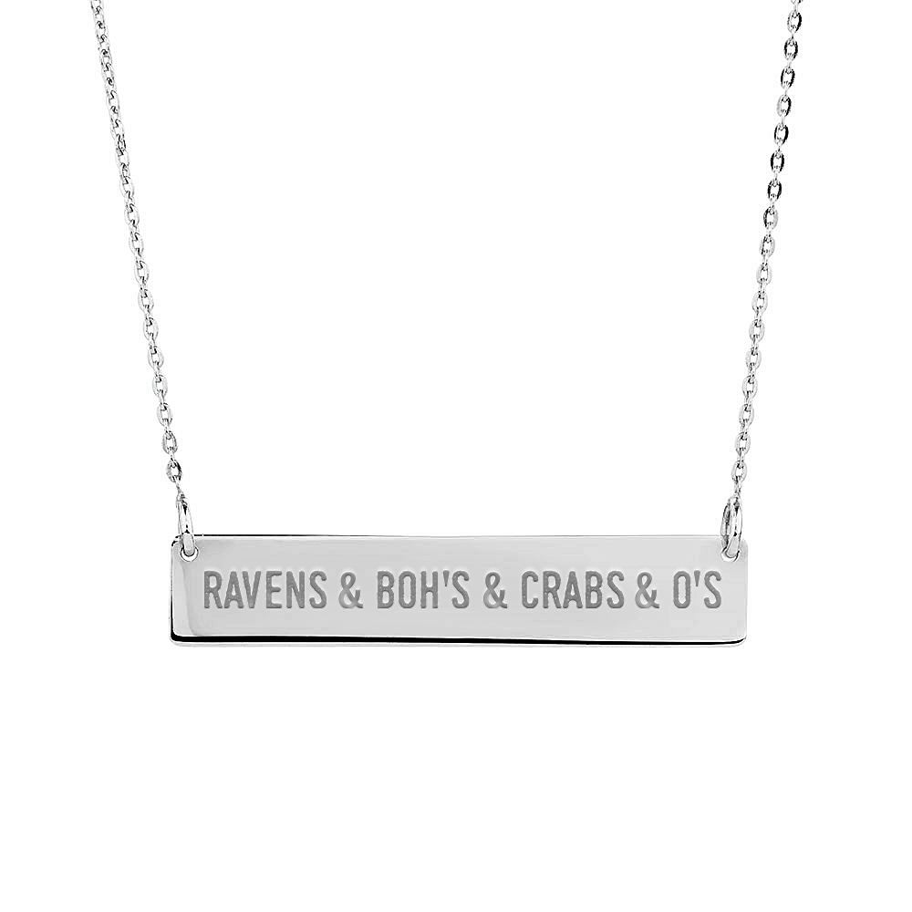 Ravens & Bohs & Crabs & O's (Sterling Silver) / Bar Necklace