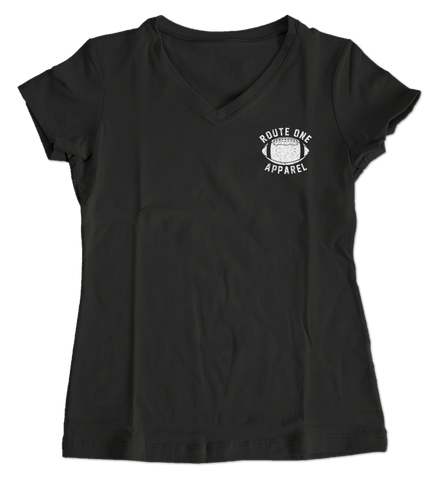 Baltimore Football Home Team Crab *Back Print* (Black) / Ladies V-Neck Shirt - Route One Apparel