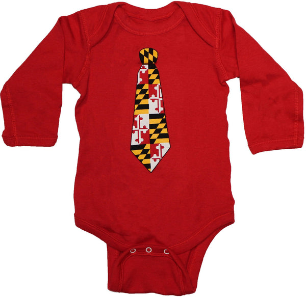 Maryland Tie Long Sleeve (Red) / Baby Onesie