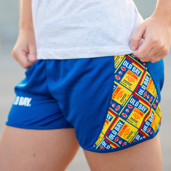 Old Bay Can Pattern Sides (Royal) / Running Shorts (Women)