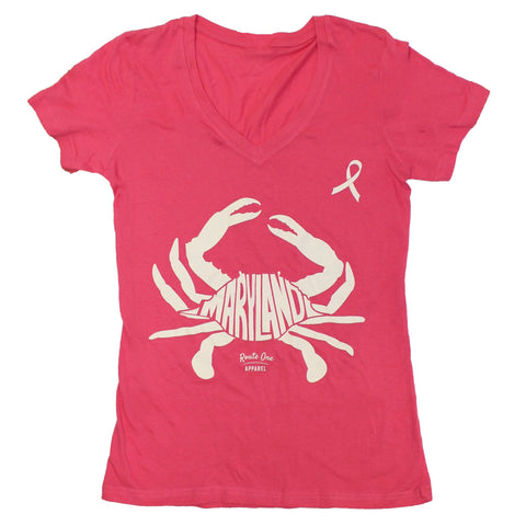 Maryland in Maryland Crab *Pink Edition* (Pink) / Ladies V-Neck Shirt