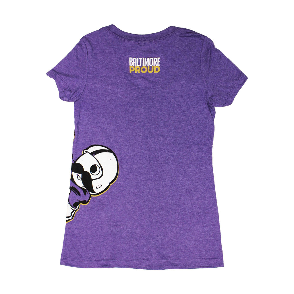 Baltimore Proud Boh Football (Purple) / Ladies V-Neck Shirt - Route One Apparel