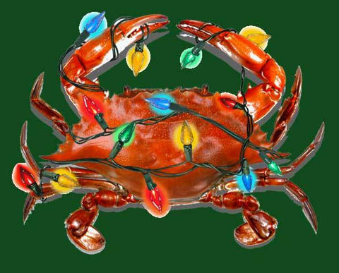 Christmas Lights Crab (Green) / Crew Sweatshirt - Route One Apparel