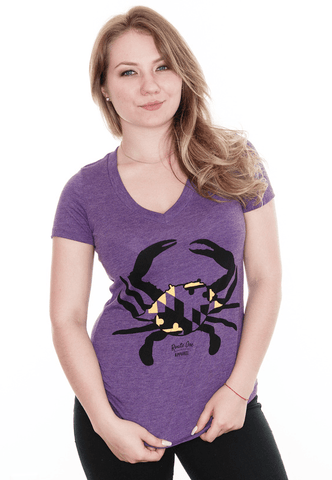 Purple & Gold Crab (Purple) / Ladies V-Neck Shirt