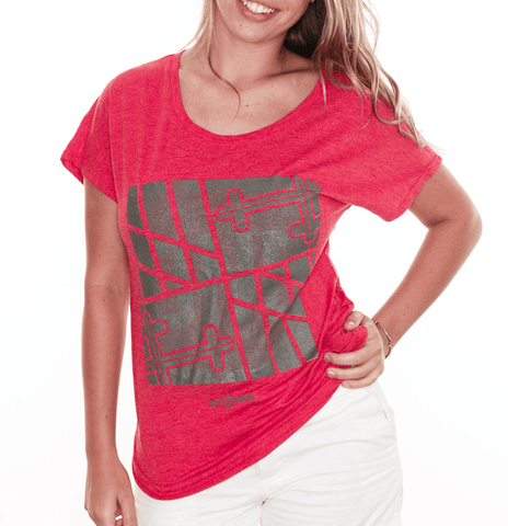 Sideways Maryland Flag Square (Chrome on Red) / Ladies Dolman Shirt