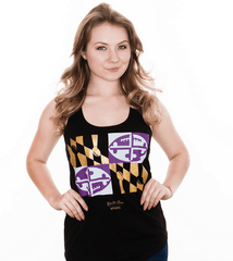 Baltimore Maryland Football Flag (Black) / Ladies Racerback Tank - Route One Apparel
