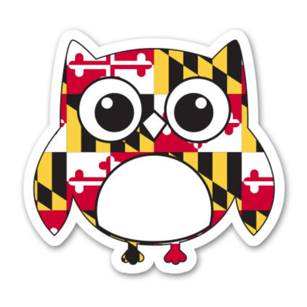 Maryland Flag Owl/ Sticker