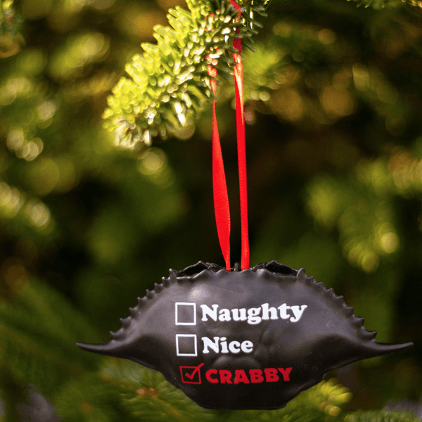 Naughty, Nice, Crabby (Black) / Crab Shell Ornament