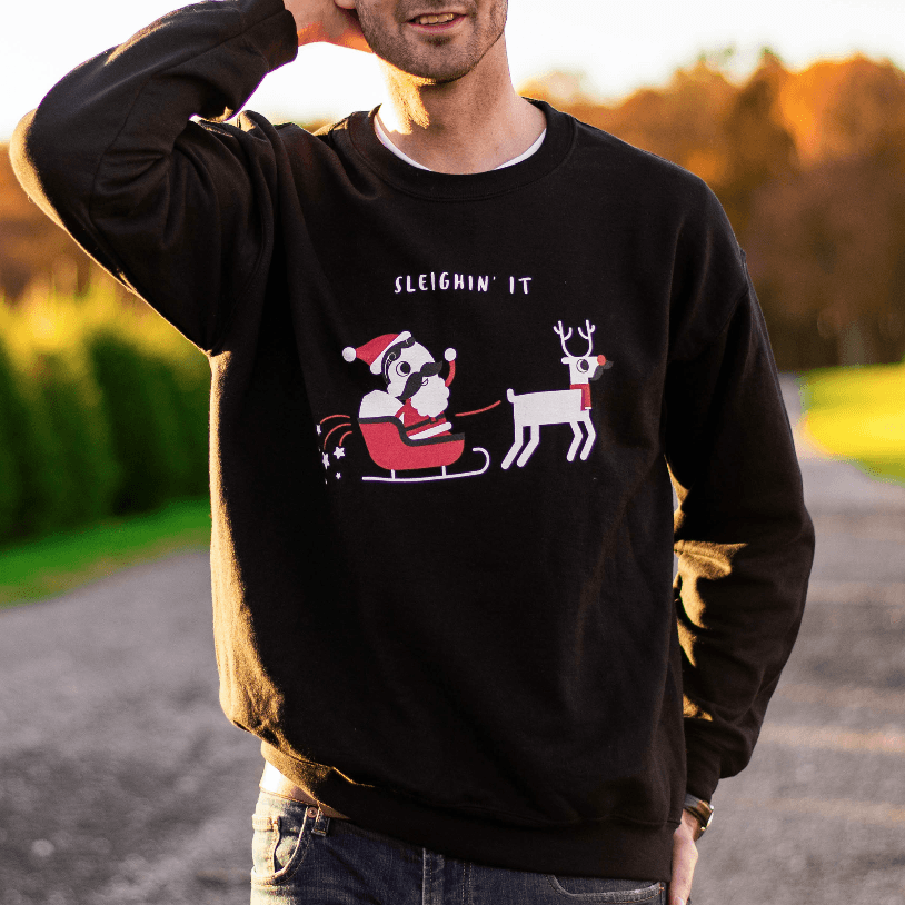 Sleighin' It (Black) / Crew Sweatshirt
