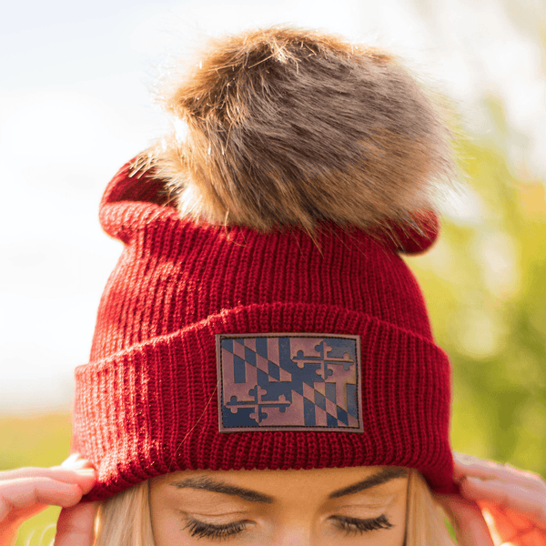 Maryland Flag Leather Patch (Burgundy w/ Fur Pom) / Slouchy Knit Beanie Cap