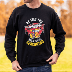 He Sees You When You're Seasoning (Black) / Crew Sweatshirt