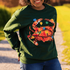 Christmas Lights Crab (Green) / Crew Sweatshirt