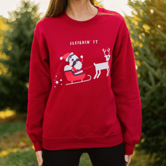 Sleighin' It (Cardinal Red) / Crew Sweatshirt
