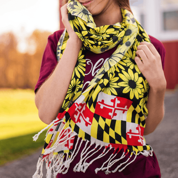 Black Eyed Susan Maryland Flag (Black) / Scarf