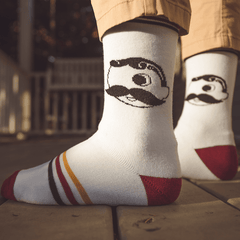 Natty Boh Calf Logo (Burgundy & Gold) / Crew Socks