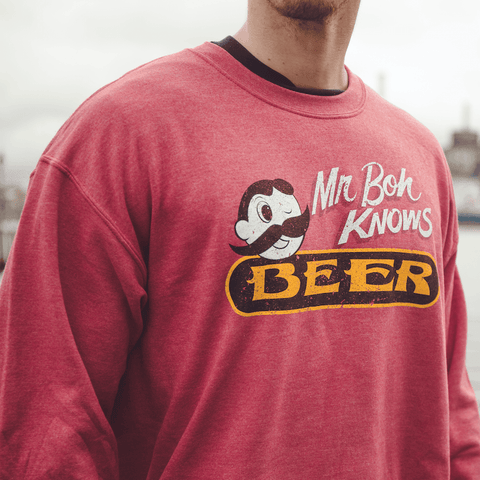 Mr. Boh Knows Beer (Heather Sport Scarlet) / Crew Sweatshirt