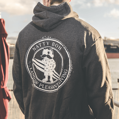 Natty Boh Surfer Dude Land of Pleasant Living (Dark Heather) / Hoodie