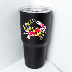 Maryland Full Flag Crab (Black) / Tumbler