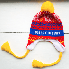 Blue Old Bay Stripe, Chevron & Snowflakes (Red w/ Yellow Pom) / Ski Hat
