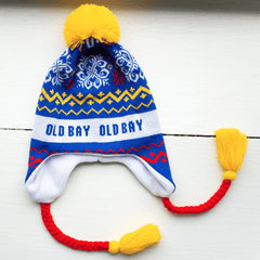White Old Bay Stripe, Chevron & Snowflakes (Blue w/ Yellow Pom) / Ski Hat