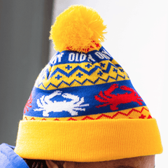 Old Bay, Red & White Crabs (Yellow w/ Yellow Pom) / Knit Beanie Cap