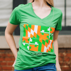 Irish Maryland Flag (Green) / Ladies Deep V-Neck Shirt