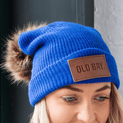 Old Bay Leather Patch (Royal Blue w/ Fur Pom) / Slouchy Knit Beanie Cap