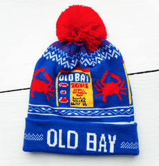 Old Bay Can & Red Crab (Blue w/ Red Pom) / Knit Beanie Cap