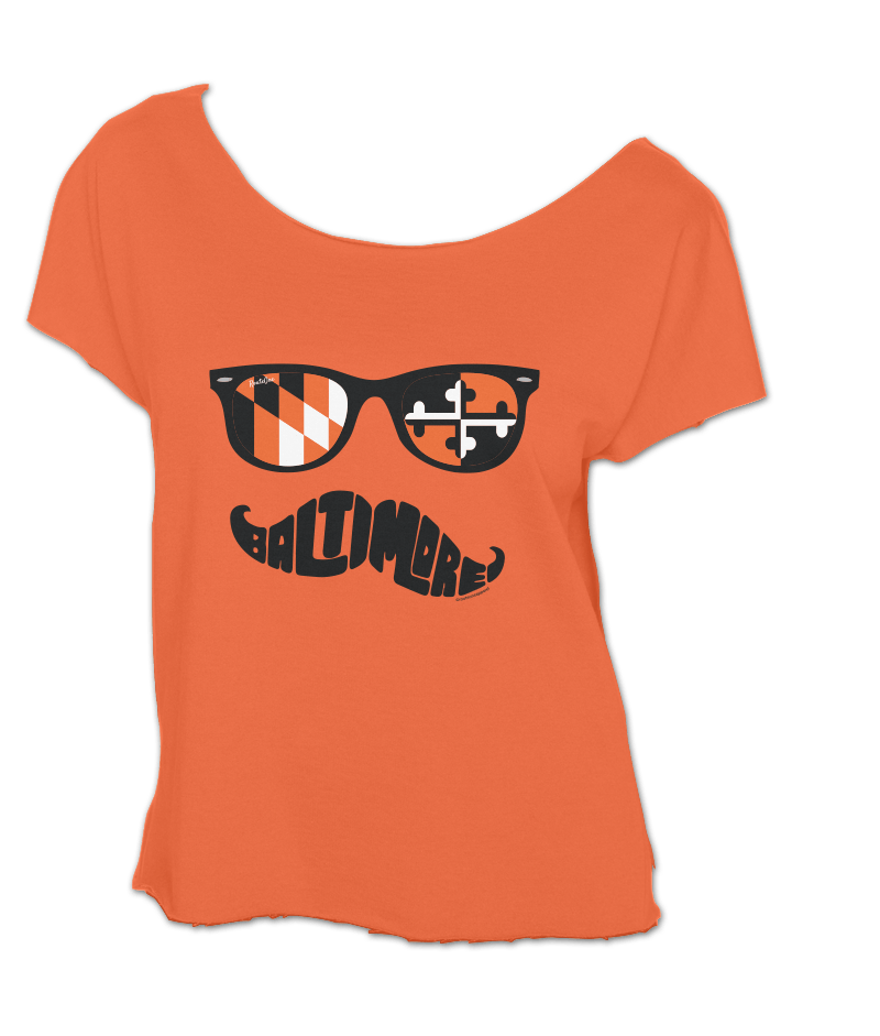 Baltimore Black & Orange Maryland Mustache (Orange) / Crop Shirt - Route One Apparel