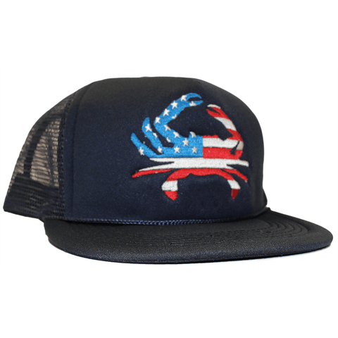 American Flag Crab (Navy) / Trucker Hat - Route One Apparel