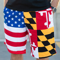 Maryland & American Flag / Board Shorts