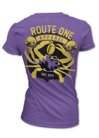Route One Apparel Baltimore Football Flag & Crab (Purple) / Ladies Shirt