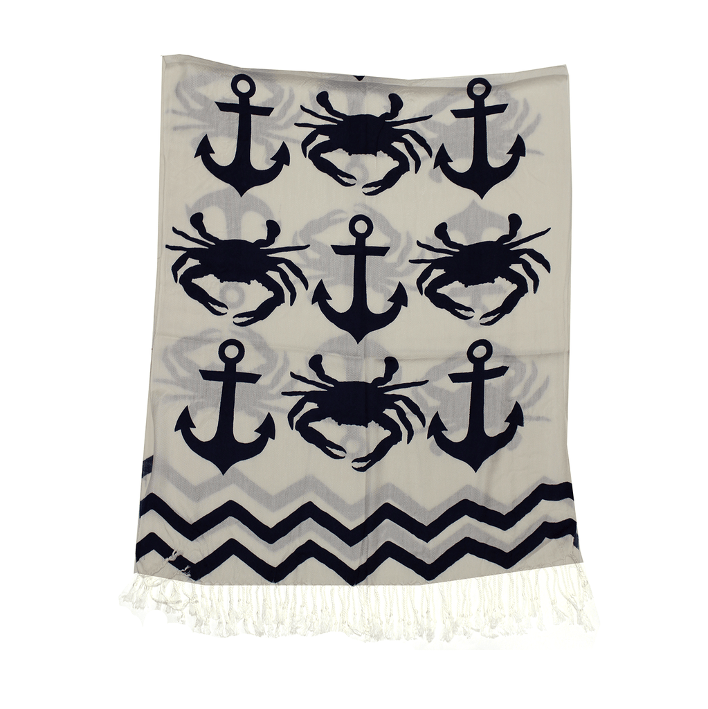 Chevron Crab and Anchor Design (White) / Scarf (Back-Ordered Until 1/10)