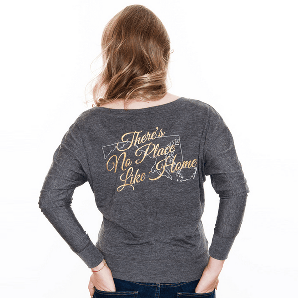 There's No Place Like Home (Heather Grey) / Ladies Long Sleeve Shirt
