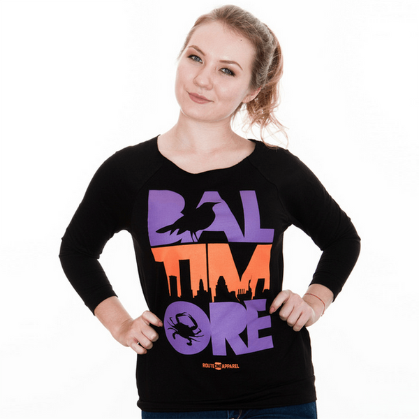 Baltimore Icon Purple & Orange (Black) / Ladies Long Sleeve Scoop Shirt - Route One Apparel