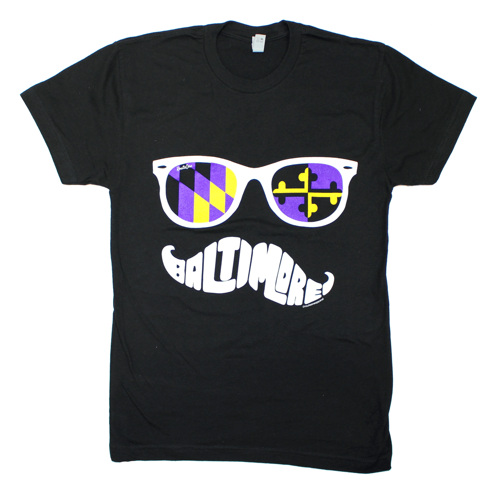 Baltimore Purple & Gold Maryland Mustache (Black) / Shirt - Route One Apparel