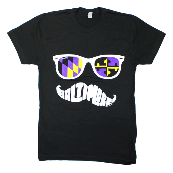 Baltimore Purple & Gold Maryland Mustache (Black) / Shirt