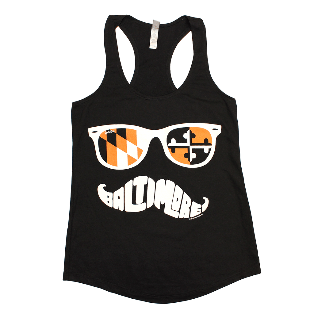 Baltimore Black & Orange Maryland Mustache (Black) / Ladies Tank - Route One Apparel