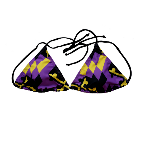Baltimore Football Purple and Gold / Bikini Top - Route One Apparel