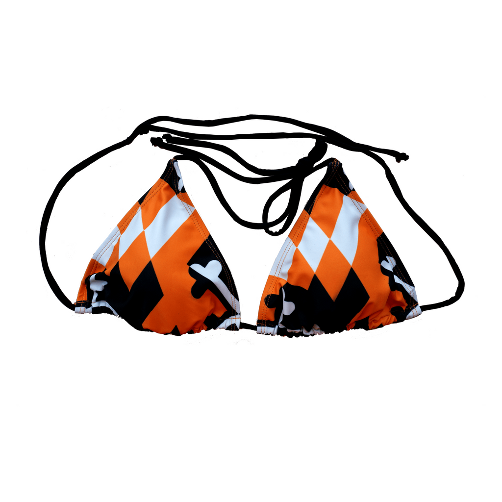 Baltimore Baseball Black and Orange / Bikini Top - Route One Apparel