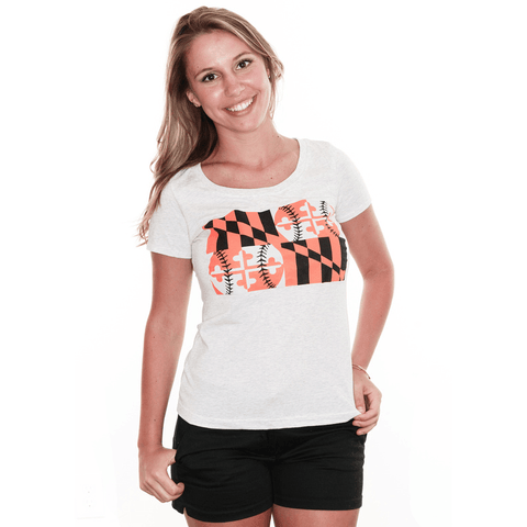 Baltimore Maryland Baseball Flag (Heather White) / Ladies Scoop Neck Shirt - Route One Apparel