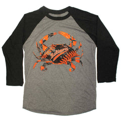 Baseball Home Team Crab *Front Print* (Black/Grey) / Baseball Jersey - Route One Apparel