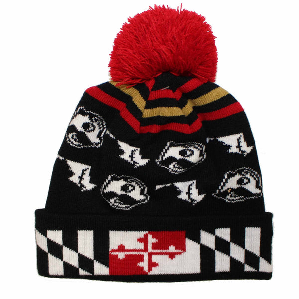 Alternating Boh & State of Maryland w/ Flag Brim (Black w/ Red Pom) / Knit Beanie Cap