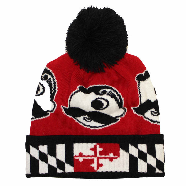 Boh Logo w/ Maryland Flag Brim (Red w/ Black Pom) / Knit Beanie Cap