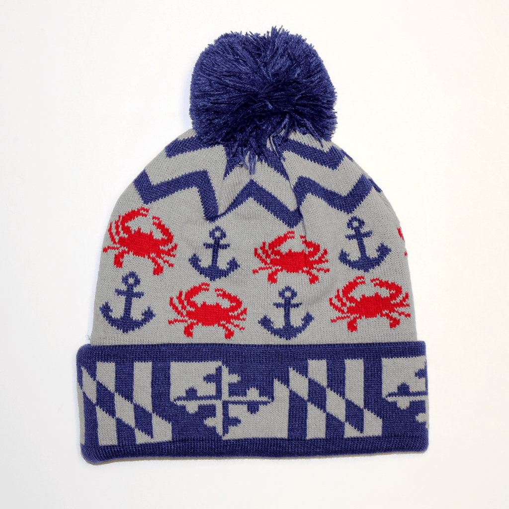 Chevron Crab and Anchor Design (Grey w/ Blue Pom) / Knit Beanie Cap - Route One Apparel