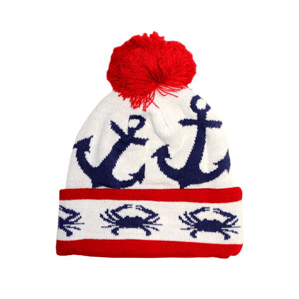 Stripe Crab and Anchor Design (White with Red Pom) / Knit Beanie Cap