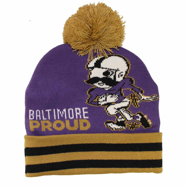 Baltimore Proud Natty Boh Running Back (Purple w/ Gold Pom) / Knit Beanie Cap - Route One Apparel