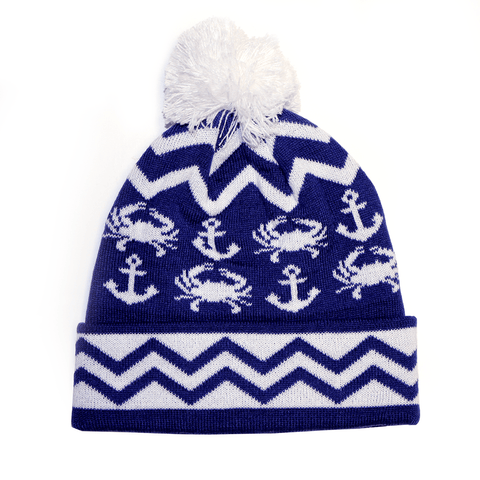 Chevron Crab and Anchor Design (Blue w/ White Pom) / Knit Beanie Cap - Route One Apparel