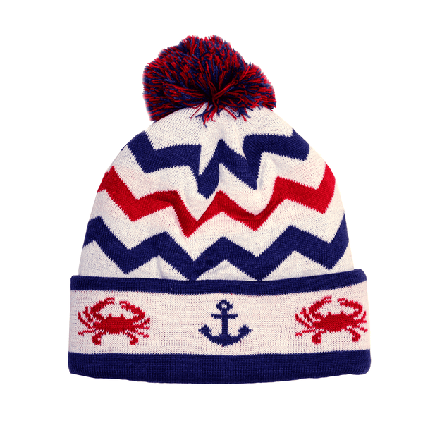 Chevron Crab and Anchor Design (White with Multi Pom) / Knit Beanie Cap