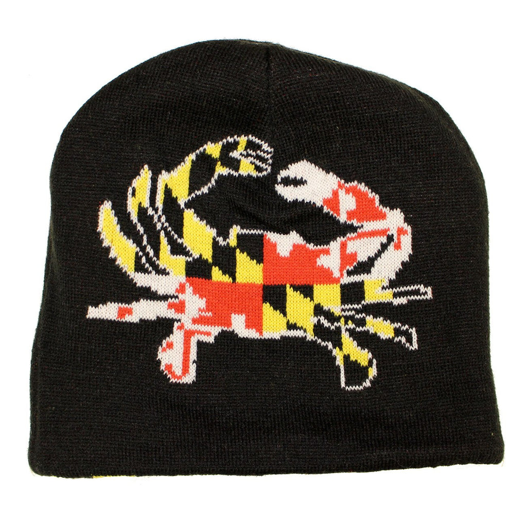 Maryland Flag & Full Flag Crab / Reversible Knit Beanie Cap
